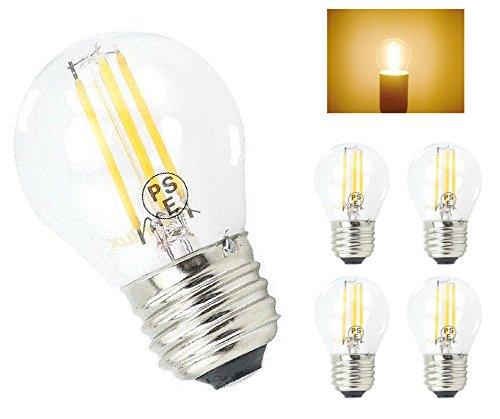 (Bonlux E26 Medium Screw Base 4W Mini Globe LED Filament Light Bulb, G45/A15 Shape LED Tungsten Bulb, Warm White 2700K, 40W Halogen Replacement (Non-dimmable, Pack of 4))