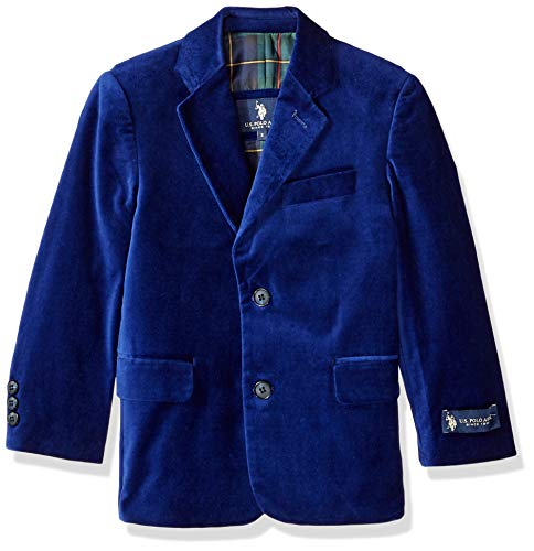 U.S. Polo Assn. Boys' Little Velvet Blazer, Blue -