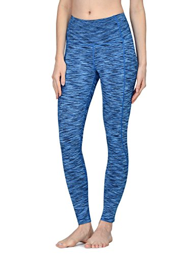 Baleaf Women's High Waist Space Dye Mesh Yoga Leggings Inner Pocket Blue Size L (Inner Mesh Pockets)