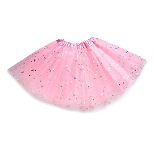 [Anleolife 12'' Princess Fairy Tutus For Girls Birthday Tutu Skirt Dance Dress Flower Sequins(pink)] (Ballerina Costumes For Toddler)