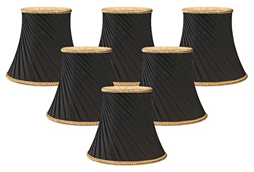 - Royal Designs Decorative Trim Twisted Bell Chandelier Lamp Shade, Set of 6, 3 x 5 x 4.5 (CS-507BLK-6)