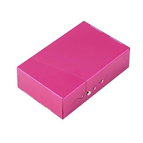 Price comparison product image SuperStores 1Pc Protable Man Women Slim Aluminum 20 Pieces Cigar Cigarette Tobacco Holder Storage Case Pocket Box (Pink)