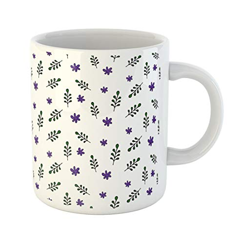 Tarolo 11 Oz Mug Coffee Mug Ceramic Tea Cup Abstract Flat Floral Green Leaves and Violet Flowers White Doodle Woodland Stationery Cartoon Large C-handle Family and Office Gift