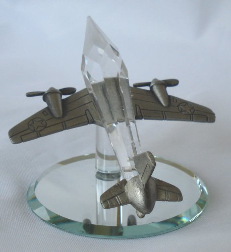 Pewter and Crystal Airplane Made with Swarovski Crystal