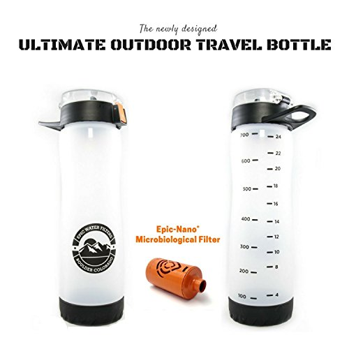 Ultimate Outdoor Travel Bottle | Includes (1) Microbiological Filter | American Made 100 Gallon Filter | Removes 99.9999% Bacteria, Virus, Cysts, Lead, Chromium 6, Fluoride & More | 27 OZ | Frosted