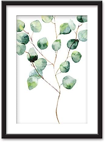 Framed Watercolor Style Tropical Plant Leaf Black Picture Frames White Matting
