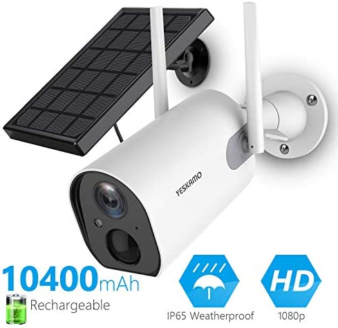Solar Security Camera Wireless – Outdoor Rechargeable Battery WiFi Camera, YESKAMO 1080P HD Video Solar Powered IP Cameras for Home Security, Wire Free 2 Way Audio Surveillance System