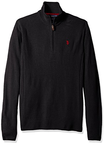 Mens Polo Cashmere Sweater (U.S. Polo Assn. Men's Tall 1/4 Zip Solid Acrylic, Navy, 2X Big)