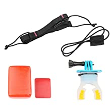 Baoblaze Surf Mouth Mount Kit for GoPro Hero6 5 Sjcam Tooth Holder with Safety Starp Floaty Sponge Long Screw Adhesive - Blue