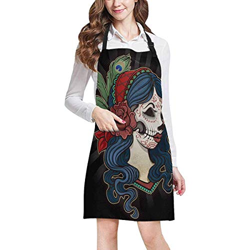 LONSANT Halloween Dead Girl with Flower Chef Fashion Aprons Professional Kitchen Chef Bib Fashion Apron with Pockets Adjustable Neck Strap, Plus Size -