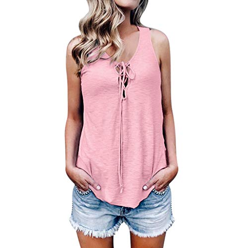 Sunhusing Women Sleeveless Solid Color Bandage Strappy Casual Tank Top Soft Comfortable Vest Blouse Pink
