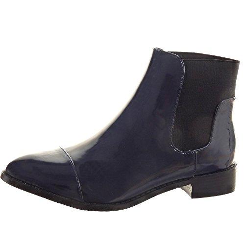 Sopily - Zapatillas de Moda Botines Chelsea Boots A medio muslo mujer brillantes Talón Tacón ancho 3 CM - Azul