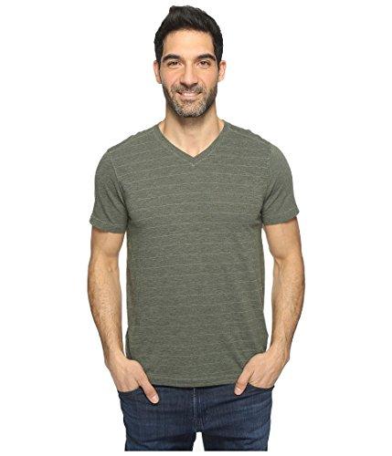 Agave Denim Men's Hal Short Sleeve V-Neck Tri-Blend Jersey Stripe Block Deep Lichen Green (Tri Blend Yoke)