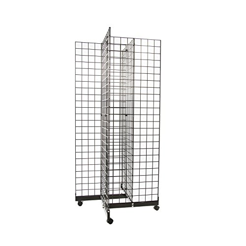 Only Hangers Black 4-Way Wire Grid Tower with Base and Casters - 2' x 6' Wire Grid Panel 4-Sided Rolling Display Rack by Only Hangers (Image #5)
