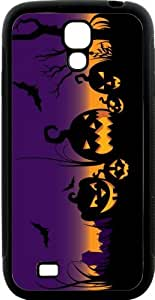 Rikki KnightTM Halloween Lighted Pumpkins on Purple Design Samsung? Galaxy S4 Case Cover (Black Hard Rubber TPU with Bumper Protection) for Samsung Galaxy S4 i9500
