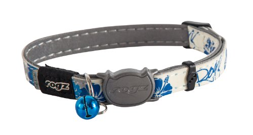 Rogz Glow in the Dark Reflective Cat Collar with Breakaway Clip and Removable Bell, fully adjustable to fit most breeds, Blue Floral Cat Design