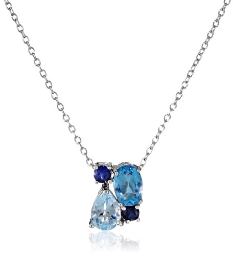 Sterling Silver Genuine Blue Topaz and Created Blue Sapphire Cluster Pendant Necklace, 18