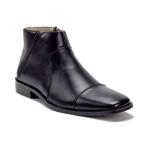 Jazamé Mens 49904 Leather Lined Double Zip Cap Toe Dress Bootie Ankle Boots