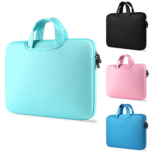 sandywident Fashion Solid Color Laptop Sleeve Case Cover 11.6 12 13.3 15.4 15.6 inch Laptop Bag for MacBook Air 13 Pro Retina 15 Notebook Bags Handbag Power Adapter Bag(Mint Green,Style 2(13 inch))