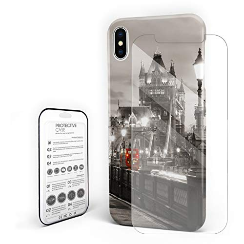 Phone Case for iPhone X Case Cover, London Tower Bridge in Famous City Urban Life Scenery European, Protective Shockproof Anti-Scratch Back Case with Tempered Glass Screen Protector -