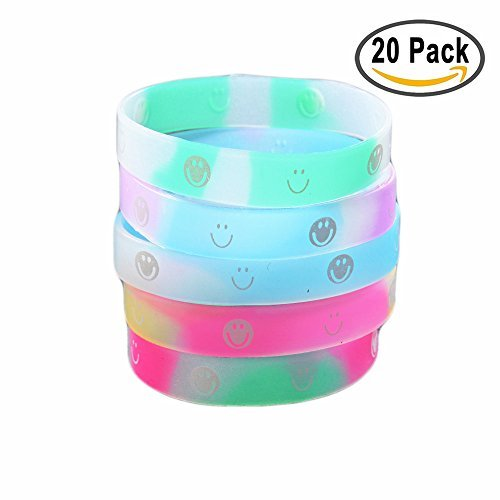 SIFAN Emoji Rubber Wristband Bracelets, 20pcs Color Translucent Silicone Games Bracelets for Kids Party Favor by SIFAN