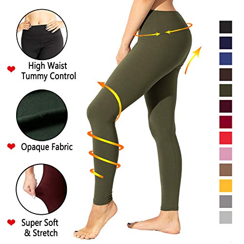 (TNNZEET High Waisted Leggings for Women Regular & Plus Size Tummy Control Work Out Full Length Leggings-Stretch Opaque Slim (Olive, One Size))