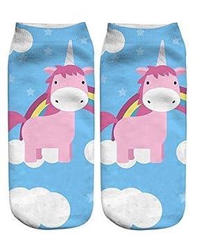 Apioffer Unicornio Personalidad de Transferencia de Calor Calcetines Harajuku Calcetines de Moda 1 par (Azul Rosado)