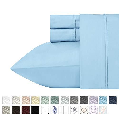 California Design Den 400 Thread Count 100% Cotton Sheet Set, Blue Twin XL Sheets 3 Piece Set, Long-Staple Combed Pure Natural Cotton Bedsheets, Soft & Silky Sateen Weave