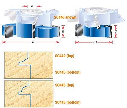 Amana Tool SC445 Carbide Tipped Stile & Rail Glass Door & Mullion Shaper Cutter for SC442 & SC446