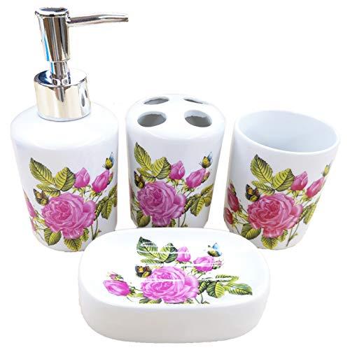 ROSE CREATE White Ceramic Flowers Bathroom Accessory Set, Liquid Soap or Lotion Dispenser Pump, Toothbrush Holder, Soap Dish and Tumbler, Toilet Brush Accessories Set, 4 Piece Bath Ensemble (Pink)