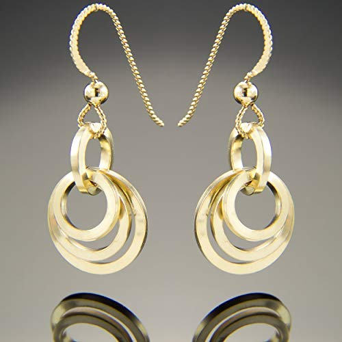 Petite Gold Minimalist Open Multi Circle Dangle Earrings in 14K Yellow Gold Fill