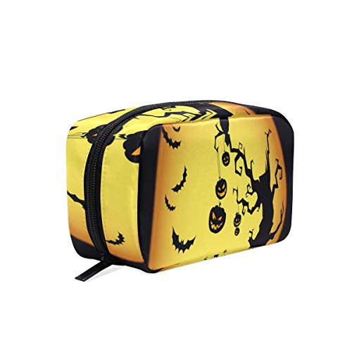 Portable Organizer Makeup bag,Halloween Pumpkin Devil Night Cosmetic Bags Multi Compartment Travel Pouch Storage for Women ()