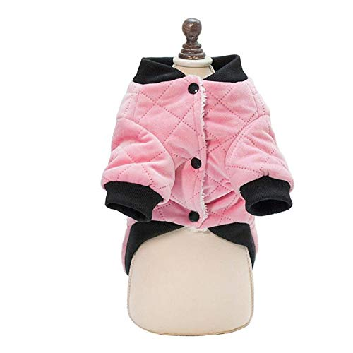 Monster* Dog Clothes Warm Pet Clothes Winter Clothing Outfit Soft Plaid Jacket for Dogs Puppy (L, Pink)