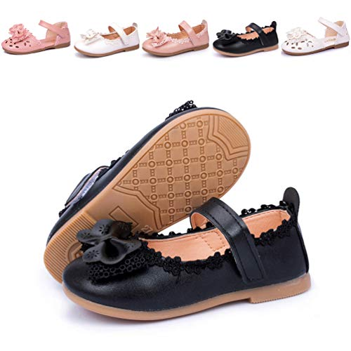 Meckior Toddler Baby Kids Girl's Sandals Mary Jane Flat Princess Dress Dance Party Cosplay First Walker Shoes (6 M US Toddler, A-Black)