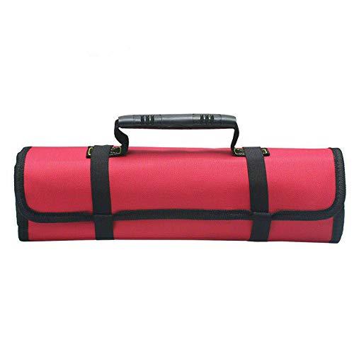 Estuche escolar - Bolsa de herramientas 22 bolsillos alforjas portaherramientas rodillo bolsillo de almacenamiento multiusos plegable portátil rojo: Amazon.es: Bricolaje y herramientas