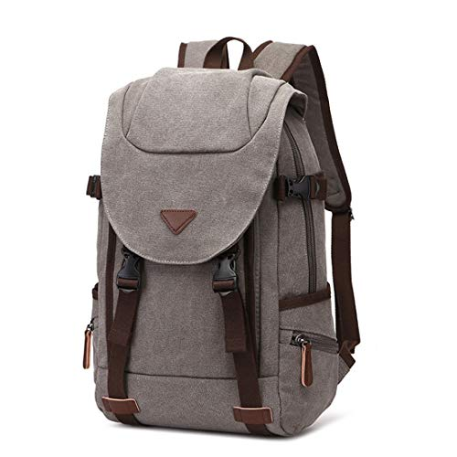Zipper Outdoor Hiking Black Gray Bag color Weatly Daypack Uomo donna Zaino Per Canvas Laptop Impermeabile Vintage PTB0Ffxw
