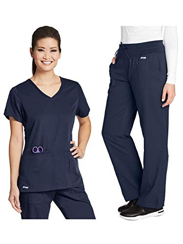 Grey's Anatomy 41423-4276 Women's Active Top - Yoga Pant Medical Scrub Set Steel M-M ()