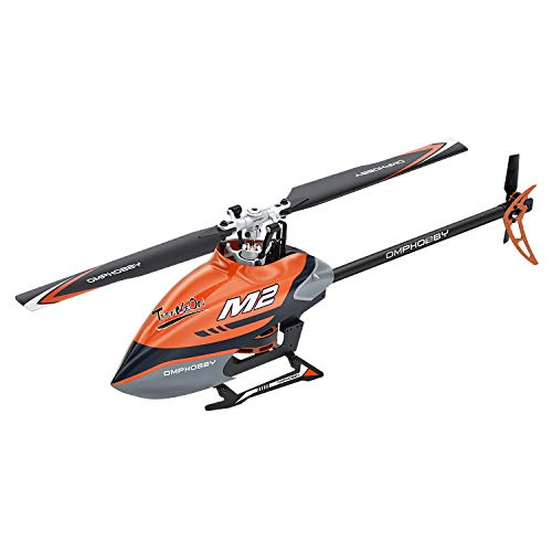 OMPHOBBY M2 Remote Control Helicopter Dual-brushless Motor RC Helicopter for Adults Direct-Drive 3D Helicopter-BNF RC Helicopter (Charm Orange)