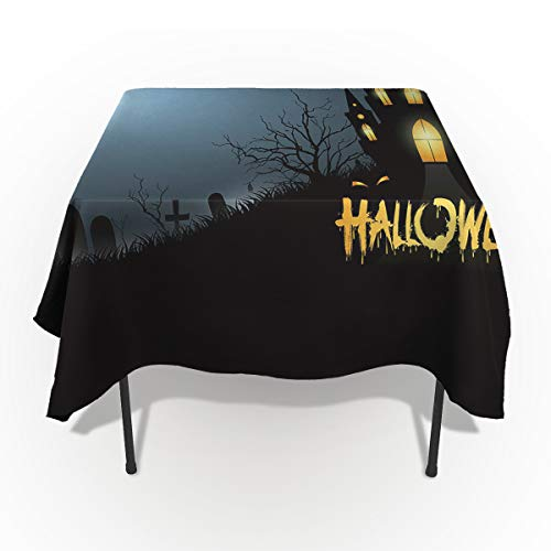 60 x 84 Inch Rectangle Tablecloth - Happy Halloween Dark Moon and Castle Rectangular Polyester Table Cloth Table Covers Linen Decor - Great for Kitchen Table, Parties, Holiday Dinner, Wedding & More ()