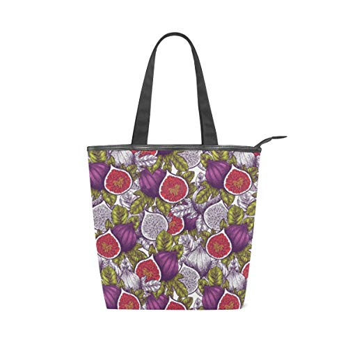 Fig Fruit Vintage Pattern Canvas Tote Handle Bag Tote bags Shopping Bag Large Travel Bag With Zipper Shoulder Strap Reusable For Shopping and Decorating ()