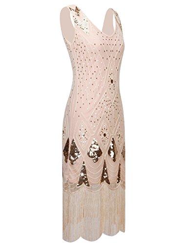 Gatsby Ourlet 1920s Couple Champagne Fairy Paillettes Frange D20s014 Flapper Bal Embelli Robe De Style xPttTfaw