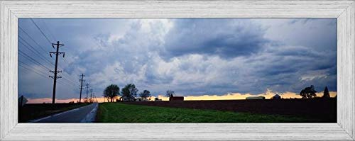(Easy Art Prints Panoramic Images's 'Storm Clouds Over a Landscape, Illinois, USA' Premium Framed Canvas Art - 30