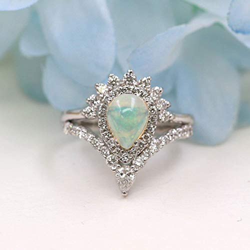 Natural Pear Opal Engagement Ring Set, Women's Chevron Nesting Bridal Ring