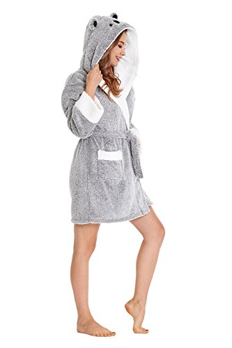 Women Bathrobe with Hood SPA Robes Fun Robes for Women (Gray, L) ()