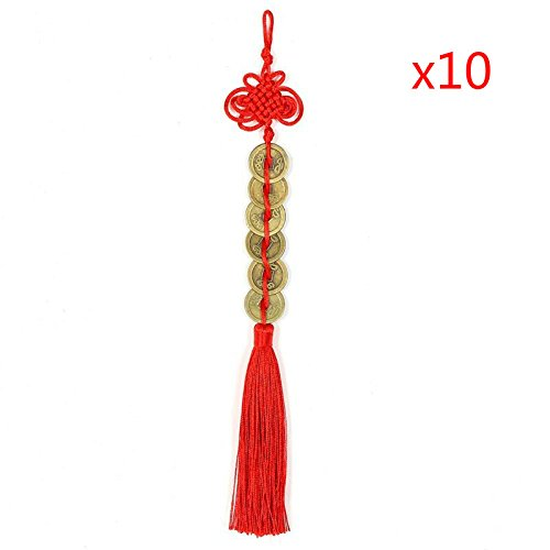 Topxome Retro 6 Coins Red Chinese Knot Copper Feng Shui Wealth Success Lucky Charm Home Car Hanger Decors (Pack of 10)