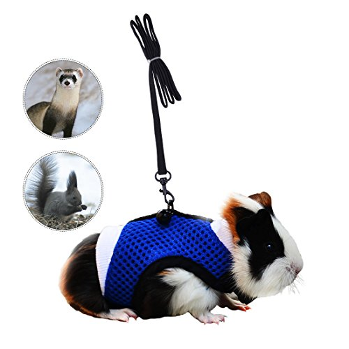 PERSUPER - Soft Mesh Small Pet Harness with Safe Bell, No Pull Comfort Padded Vest Durable Nylon Guinea Pig Harness and Leash Set Adjustable All Season for Rats, Iguana, Hamster, Bearded Dragon