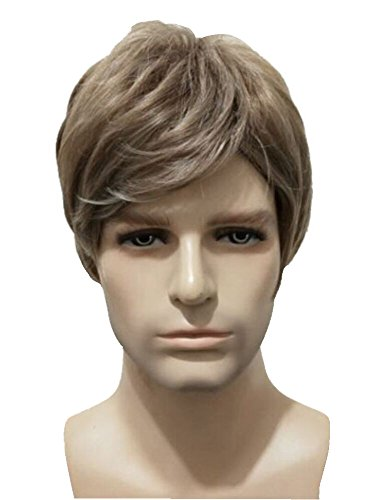 Cool Men Boys Short Curly Mix gray Blonde Wigs and A Wig Cap, Synthetic Costume Cosplay Wigs; -