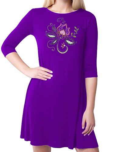 Kurti Mania Women's Boatneck Swing Silk Top Floral Motif (Purple, (Motive Boatneck)