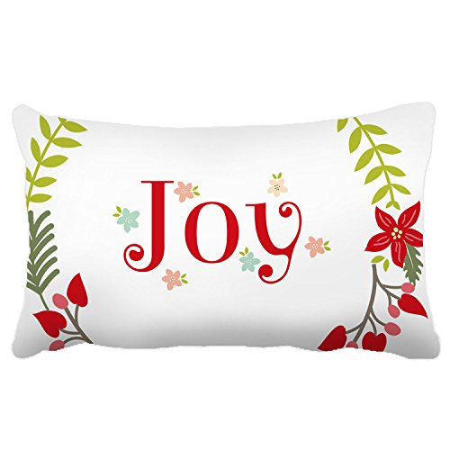"""Poieloi Indoor Outdoor Decorative Pillow Cases for Teen Christmas Wreath Floral Print 20""""x30"""""""