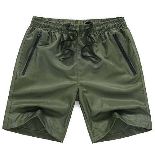 - MADHERO Men Swim Trunks with Zipper Pockets Quick Dry Bathing Suits Mesh Lining,Army Green,Size L